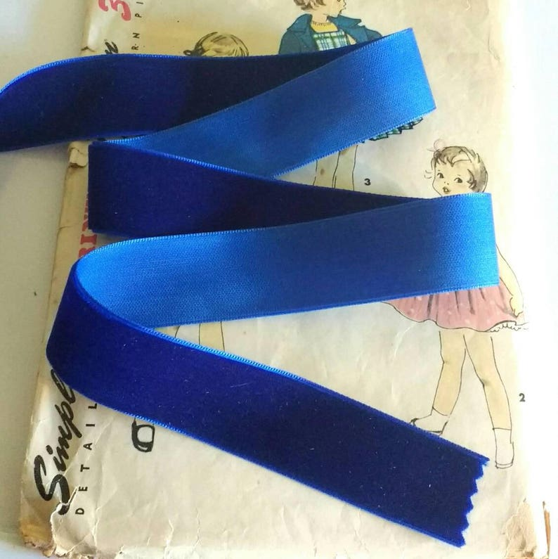 Colbalt Blue Velvet Ribbon for Bows Floral and Millinery image 0