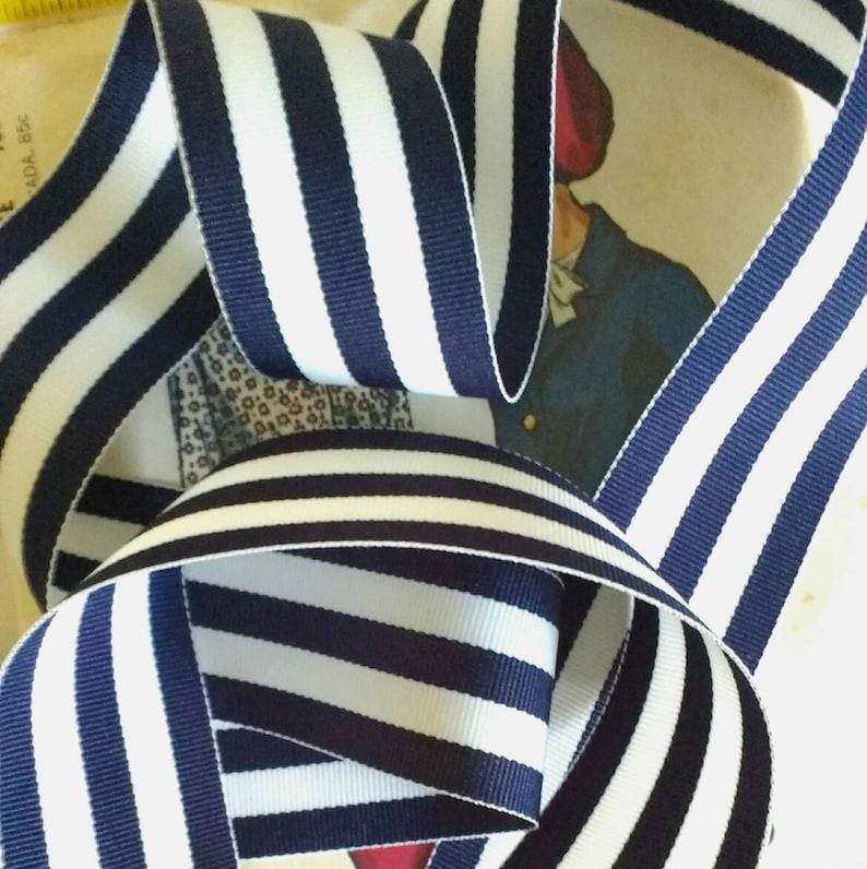 Navy Blue and White Striped Ribbon Striped Nautical Ribbon image 0
