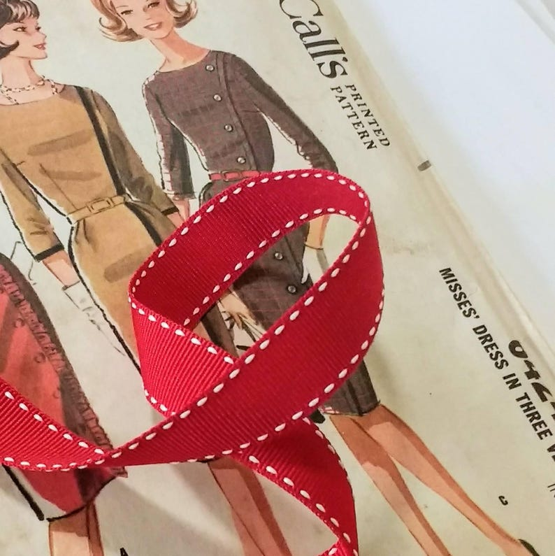 Red and White Grosgrain Ribbon Red Saddle Stitch Ribbon image 0