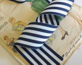 "Navy and White Striped Ribbon, Striped Nautical Ribbon 1.5"" Grosgrain"