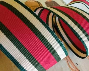 "Tan, Green and Magenta Ribbon, 7/8"" Dark Green Striped Grosgrain Ribbon 5 yards"