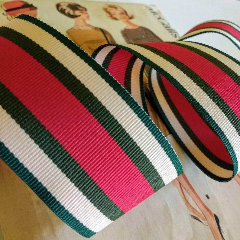 Tan Green and Magenta Ribbon 1.5 Dark Green Striped image 0