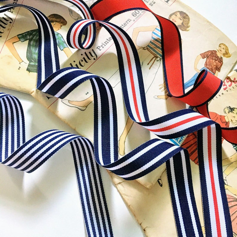Navy and White Nautical Ribbon Red Navy Blue and White image 0