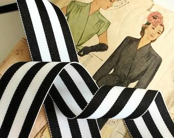 "Black and White Striped Ribbon, Striped Grosgrain Ribbon 1.5"" inch"
