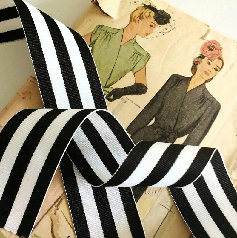 Black and White Striped Ribbon Striped Grosgrain Ribbon image 0
