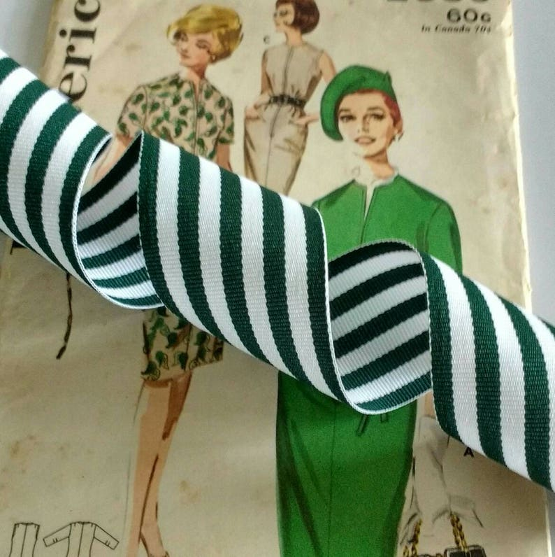 Green and White Striped Ribbon Dark Green Grosgrain Ribbon image 0