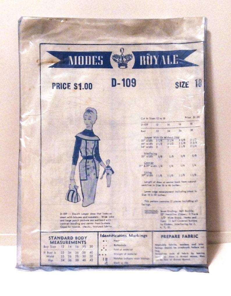 1960s Modes Royale Dress Pattern D-109 Jumper Sheath Day Dress image 0