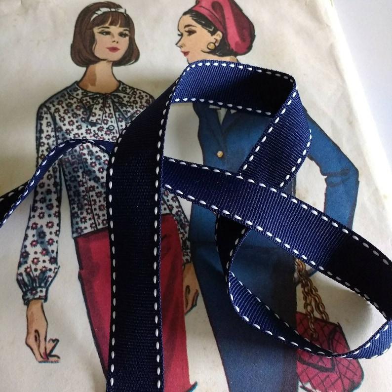 Navy Saddle Stitch Ribbon Nautical Navy Blue and White image 0