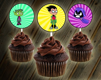 Teen Titans Go Cupcake Toppers Digital Design Buttons Stickers