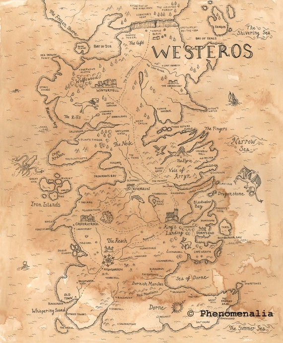 graphic about Printable Map of Westeros known as Hand Drawn Sport of Thrones Map of Westeros Print