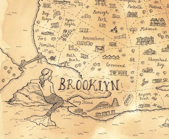 Map Of New York Brooklyn.Brooklyn Map New York Pirate Treasure Map Print