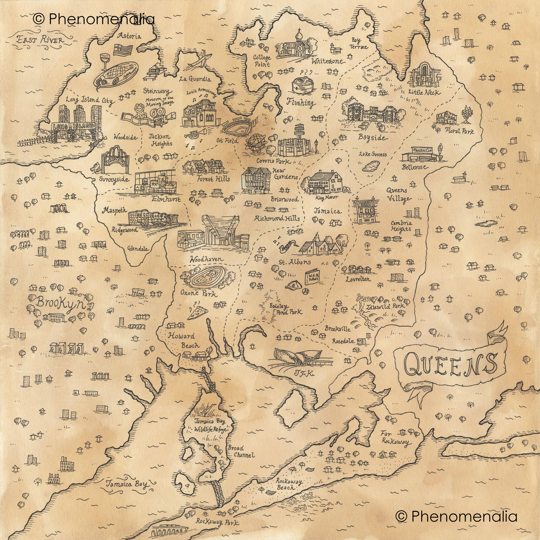 Pirate Treasure Map Rug: Queens Map New York Pirate Treasure Map Print