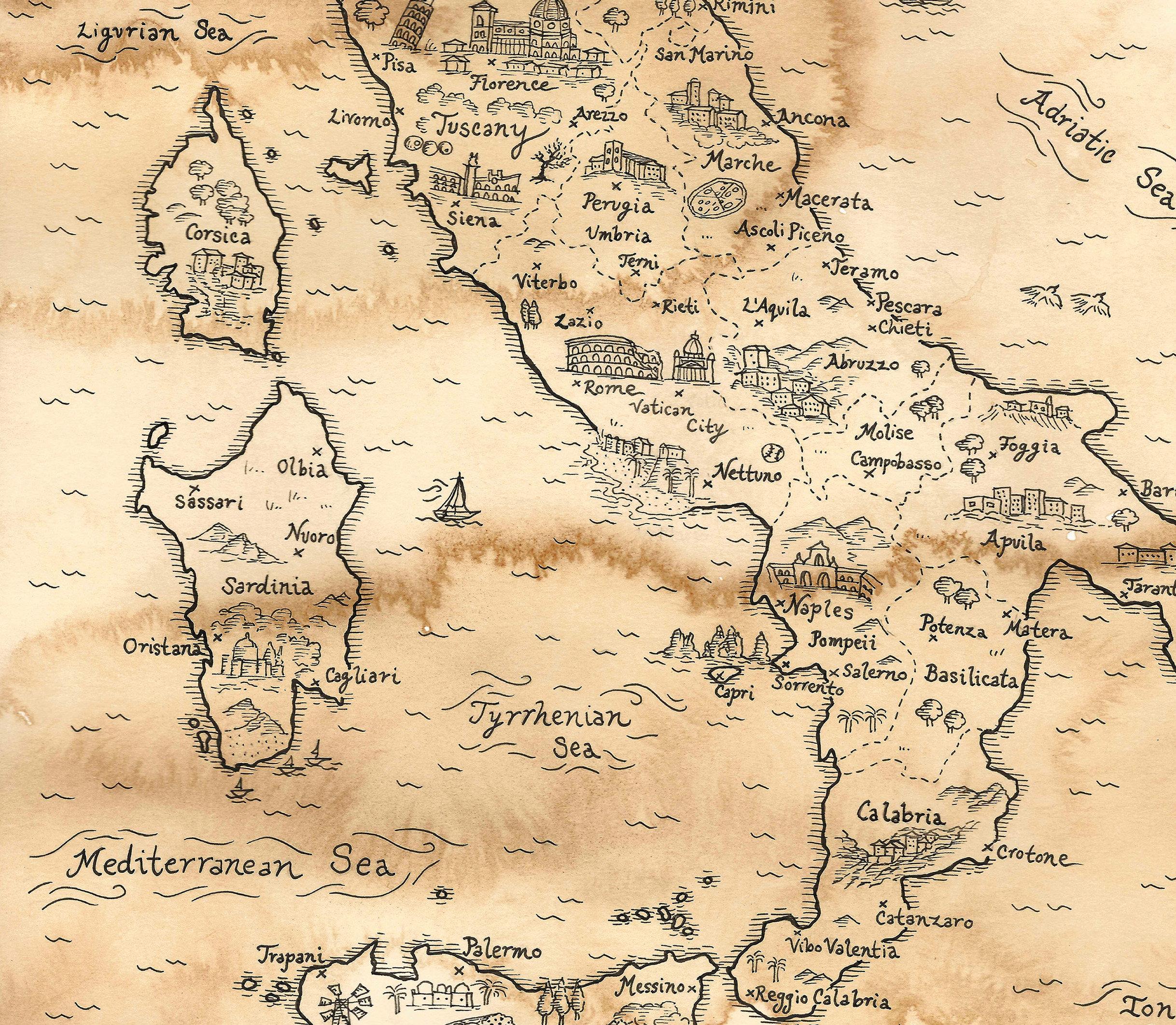 Treasure Map Heart Aqua and Gold Focal Bead Artisan made