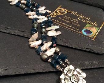 Appetite Gem Stone Biwa Fresh Water Pearls & Swarovski Elements Crystal Flower Bracelet