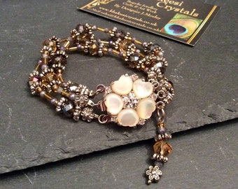 Aurora Borealis Heather Purple & Gold Swarovski Crystal M.O.P Flower Bracelet