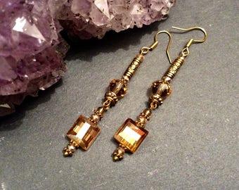 Golden Square Swarovski Element Crystal Earrings Art Deco