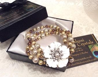 Aura Borealis Heather Purple Swarovski Crystal, Pink & Gold Pearl Flower Bracelet