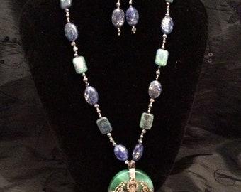 Buddha Green Agate, Lapis Lazuli Pyrite Peacock Pearls Long Strand Pendant & Earrings