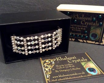 Four Strand Gatsby Silver Swarovski Crystal Bracelet Leaf Toggle