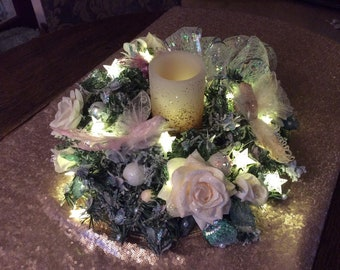 Star Sparkly Christmas Wreath Table Decoration Flicker Candle Roses Pink Feather Birds