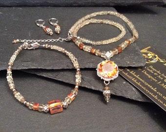 Padparadscha Quartz Topaz Serenite Silver Necklace Bracelet & Earring Set