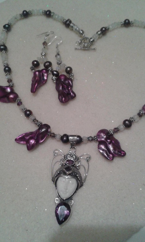 Goddess Face Art Deco Bali Silver Necklace Set Amethyst Moonstone /& Pearls