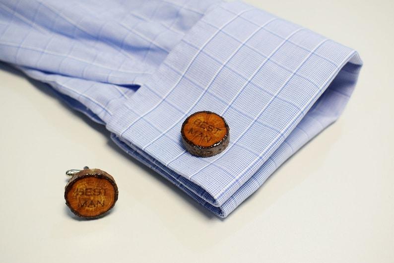 Best Man engraved Oak tree wooden cufflinks Custom engraving Best Man Natural Wood cufflinks for wedding personalised gift for Him