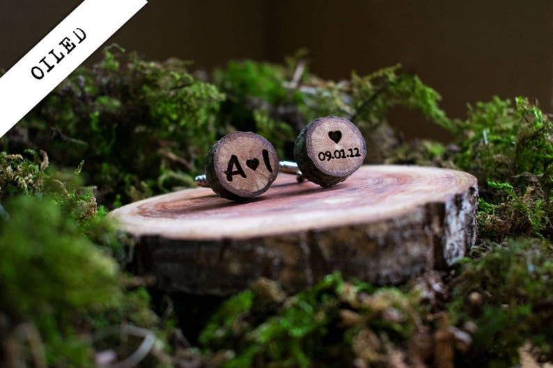 rustic cuff-links Initials and date engraved personalized gift for Him laser engraved oak tree cufflinks wedding gift Custom engraving