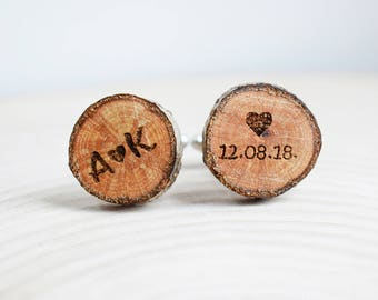 Natural oak cufflinks, Custom engraving, Initials and date engraved Oak tree wooden cufflinks, personalized gift for Him, wedding gift