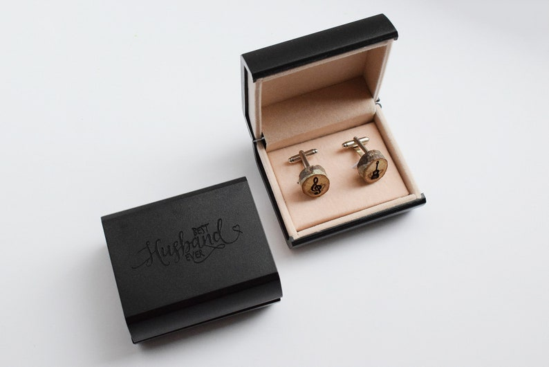Men/'s accessory music custom engraved Wood cufflinks personalised gift for Him guitar engraving varnished Oak tree wooden cufflinks