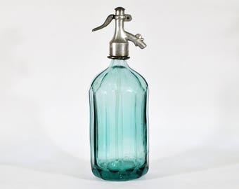 Vintage Seltzer Soda Siphon Bottle 1950s - Light  BlueGreen Tint -  Mid Century Home Decor  ( No.0040 )