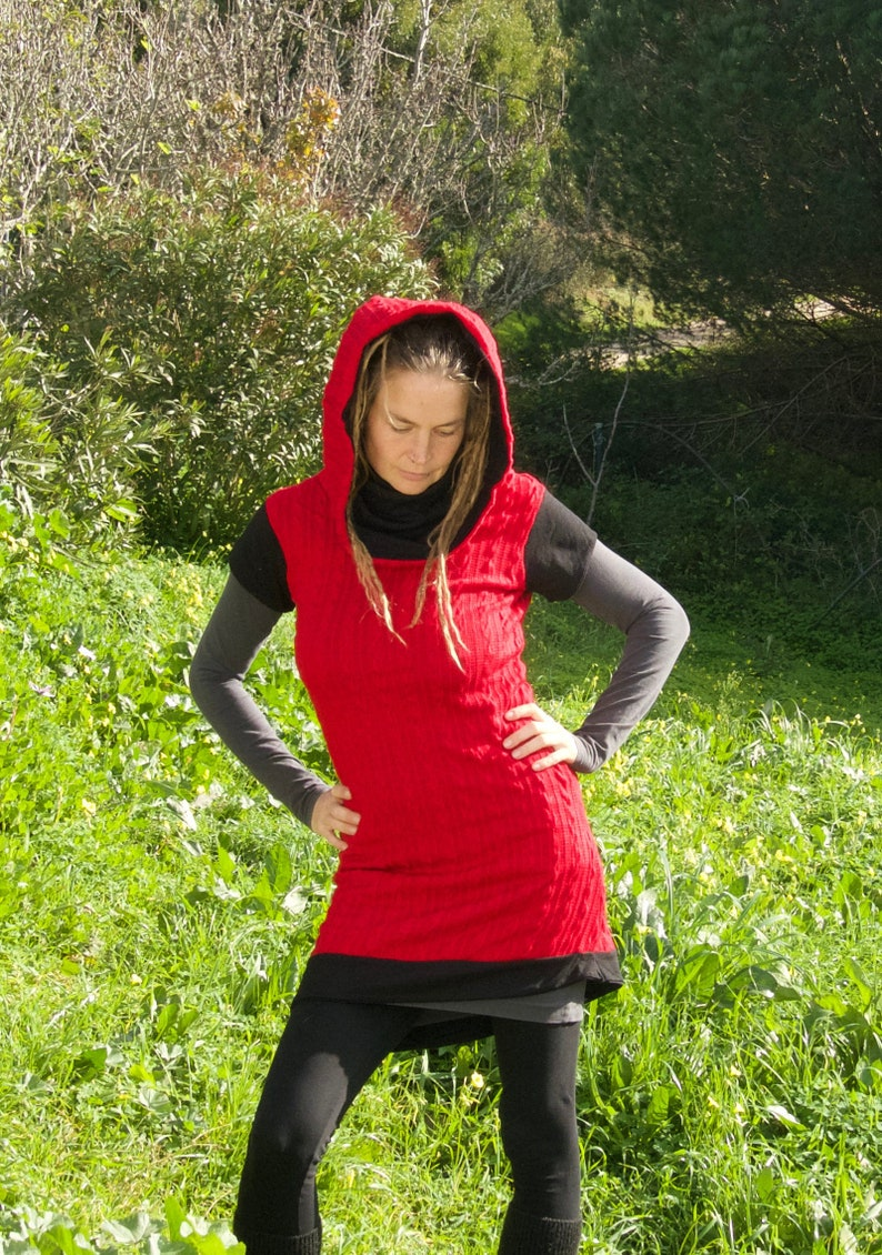 Cuddly cosy cowl neck dress hooded dress pullover dress winter dress mini dress knitted dress short sleeves SIZE M