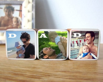Father's Day Gift Personalized DAD Photo Wood Blocks, Photo Letter Blocks, Gift for dad, Set of 3