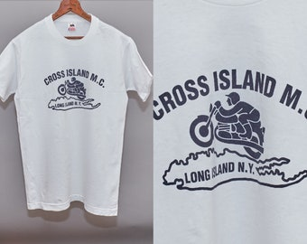 f53c2eb26eeb 80s Motorcycle T Shirt Cross Island MC Long Island Bike Club Medium