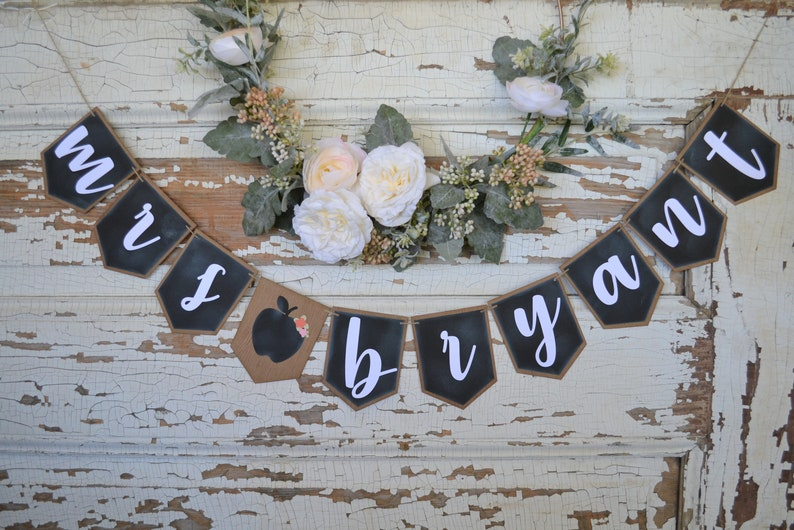 teacher classroom banner, custom teacher name banner, chalkboard shabby  chic classroom sign, farmhouse chalkboard classroom banner