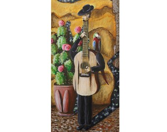 """Giclee Print - """"Guitarist with a Parrot"""""""