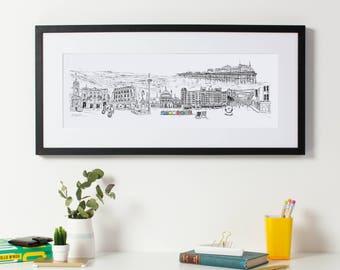 Brighton Skyline Print, Brighton Print, Brighton Art, Brighton Wedding Gift, Brighton Cityscape, City Art, Office Art, Brighton Gift,