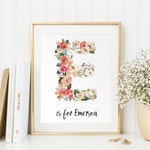 Personalized Baby Gift, Baby Name Wall art, Customized initials print, Vintage floral letters, Nursery Wall Print, Digital Art baby, PDF