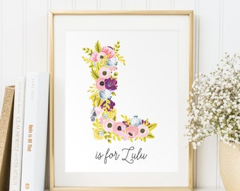 Customized initials print, Personalized Baby Gift, Baby Name Wall art, Vintage floral letters, Nursery Wall Print, Digital Art baby, PDF