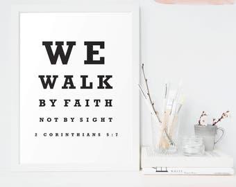 We Walk By Faith Not By Sight, Optometry, Vintage Eye Chart, 2 Corinthians 5:7, Christian Printable Art, Bible Verse Printable Decor, Modern