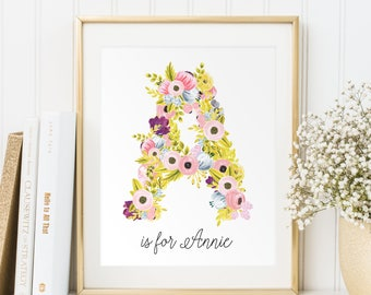 Baby girl gift, Baby girl name sign, Personalized printable, Baby name wall art, Nursery letters girl, Name print, Wall decor Name art, PDF