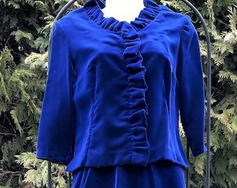 Blue Velvet Plush 2 Piece Dreamy 60's Dress