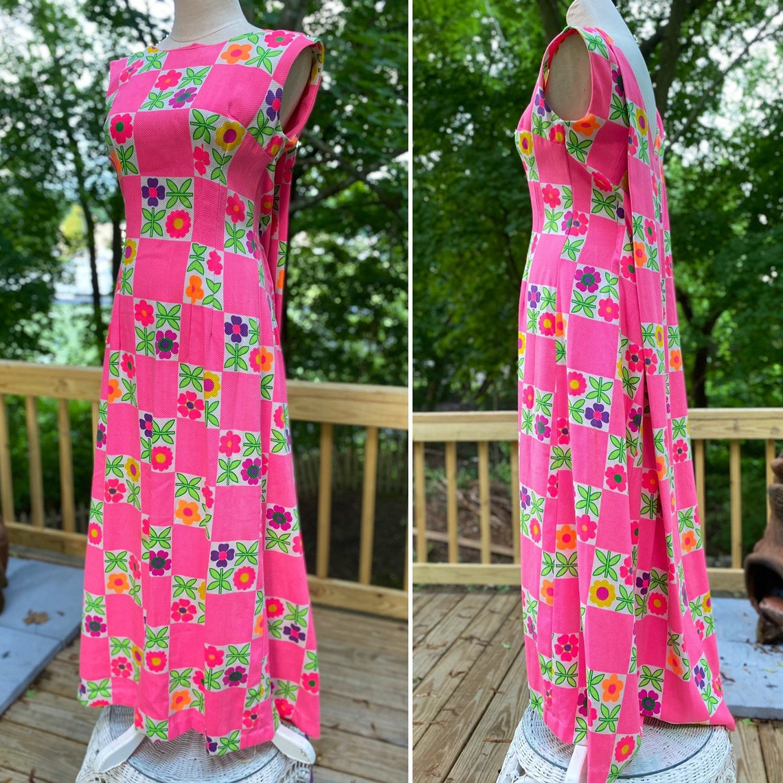 Gorgeous 60s Summer Maxidress or Gown Super Mod Rear Train