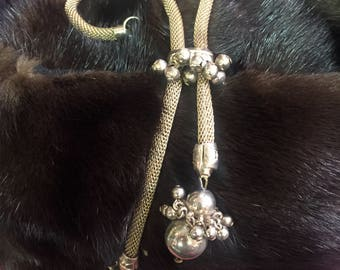 Vintage Mesh Lariat Slide Necklace from Germany