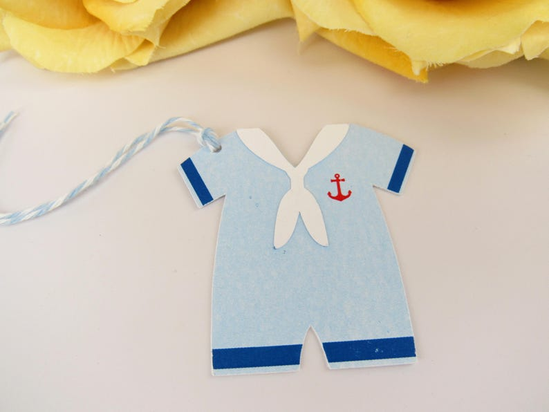 Personalised Favour Tags Baby Suit Boy 10