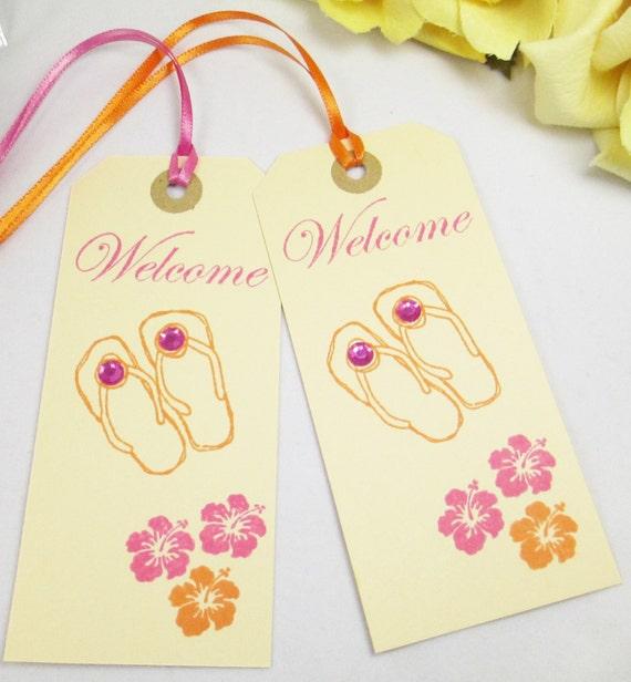 9f36c7daa2ac11 10 Hot Pink and Orange Destination Wedding Favor Tags Flip