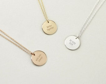 Note to Self Everyday Engravable Necklace, Custom Message Necklace Gold, Rose Gold, Sterling Silver