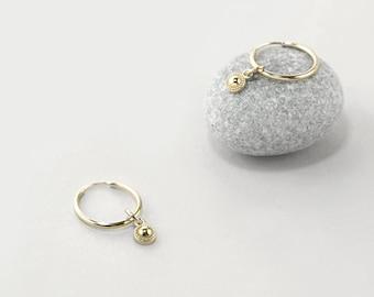 Tiny Gold Charm Hoop Earrings, Celestial Sunburst Hoop Earrings, 14k White Gold Endless Hoops 12mm, Everyday Hoop Earrings