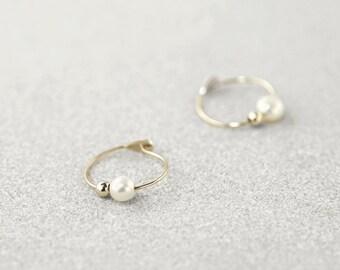 Mini Pearl Hoops, Ultra Thin Wire Gold Hoop Earrings, 14k Gold Pearl Hoop Earrings with Gold Beads, Unique Hoop Earrings