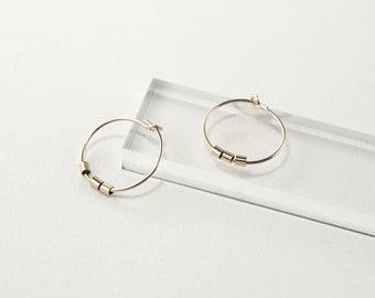Mini Gold Hoop Earrings, Ultra Thin 15mm Wire Hoop Earrings, 14k Gold Filled and Sterling Silver, Everyday Hoop Earrings